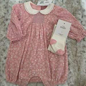 Baby Girl Cord Romper & Tights